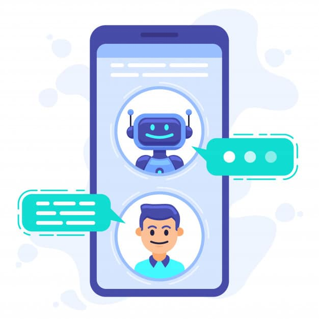 chat bot communication smartphone chatting with conversation bot chat assistant bot cellphone screen robots sms dialog illustration robot communication conversation chatting 229548 615 EXPORYA
